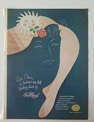 1953 NO MEND Rose Dawn women's nylon stockings Hosiery Legs vintage ad