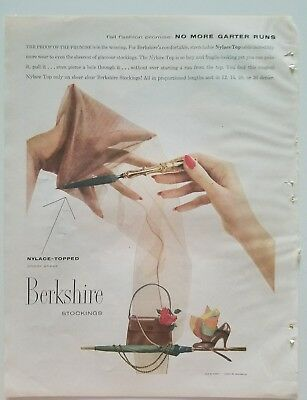 1953 Berkshire women's nylon stockings Hosiery no more garter runs ad