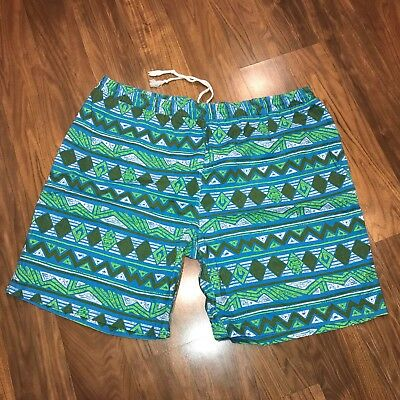 Vtg 80s 90s Mens XL Blue SURF Beach jams Cotton Swim suit trunks board shorts XL