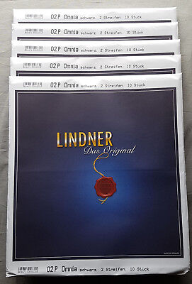 50x Lindner Omnia 02P Stockbook with 2 Streifen (140 mm) , Black NEW