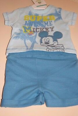 Baby Boys Disney Mickey Mouse T Shirt And Shorts 6 Sizes New