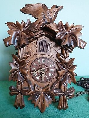 Vintage Wooden Black Forest Cuckoo Clock~Germany~With Weights~Needs Pendelum~Vgc
