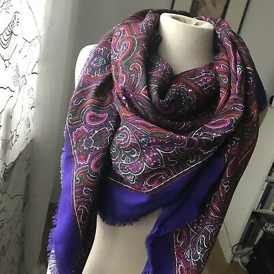 ★ Paisley Schal ★ 80er Jahre Vintage Tuch Paisleymuster lila pink Damenschal TOP