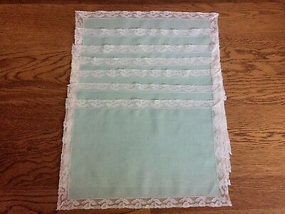7 Mint Green Linen Placemats Old Lace Trim, Handmade, probably from 1930's