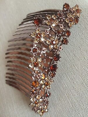 Large coppertone/rhinestone/crystal bridal hair comb jewelry wedding updo