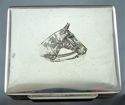 FINE THOMAE CO. STERLING SILVER ENGRAVED HORSE CASE BOX WITH GILT INTERIOR c1940