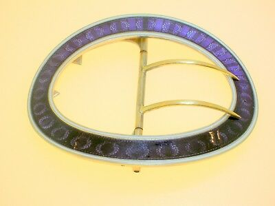 "Antique French Guilloche Enamel Large Silver Belt Buckle - 3 3/16"" W -47.2 Grams"