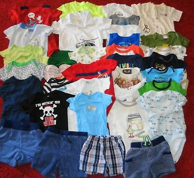 Huge Lot Boys Summer Clothes Outfits Lucky Brand Shorts Shirts Size 0-3 3-6 Mo.