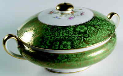 Minton BROCADE GREEN Round Covered Vegetable Bowl 4413748