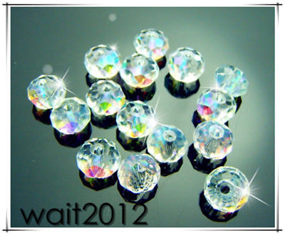 AB Clear #5040 Lot 50PCS Beads Free TOP Charms Spacer crystal 8mm Rondelle