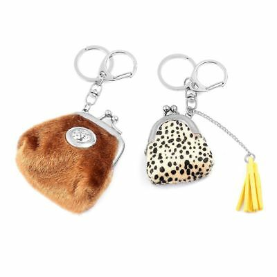 Set of 2 STRADA Japanese Movement Brown Coin Purse Design Key Chain Watch