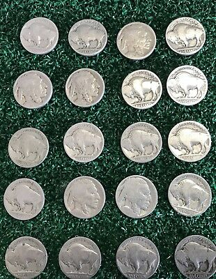 VINTAGE United States Coin Lot Of 20 Buffalo Nickels 1913-1938 *FREE SHIPPING*