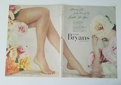 1953 Beautiful Bryans English Tea Rose Womens Stockings Hosiery 2 page ad