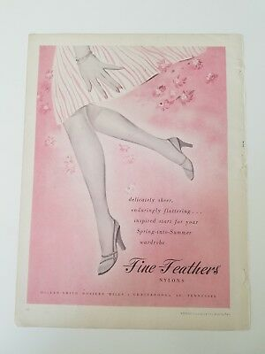 1953 Fine Feathers women's nylon Hosiery stockings legs vintage ad