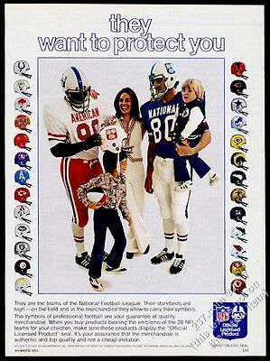 1973 NFL all 26 teams helmet phots Official Seal products vintage print ad