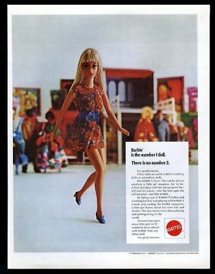 1970 Barbie doll in colorful mod dress photo Mattel vintage print ad
