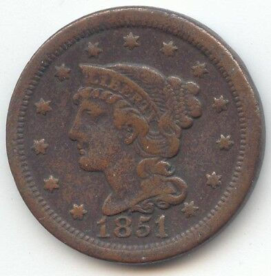 1851/81 Braided Hair Large Cent, Overdate, VF Details