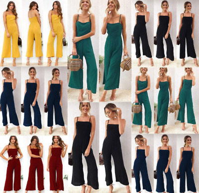 Women Boho One Piece Sleeveless Strappy Playsuit Trousers Flower Jumpsuit