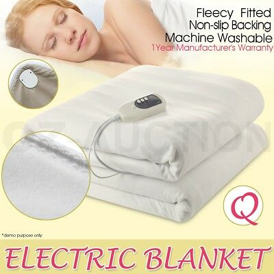 Electric Blanket Heated Machine-Washable Soft Fleece With Anti-skid Pads Queen