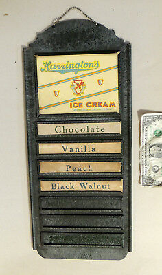 Antique vtg c1930s Harrington's ICE CREAM Metal SIGN Tin Menu Board Dushore PA
