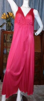 Vintage Vanity Fair Long USA Tricot Nylon Gown Nightgown w Full Side Slit Red L