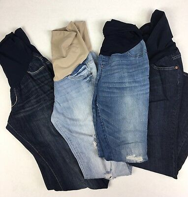 Lot Of 4 Full Panel Maternity Jeans Distressed Size XS / Small Indigo Blue Chic