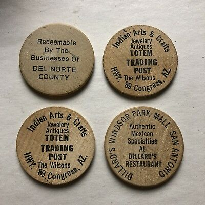 4 Wooden Nickel Lot Totem Trading Congress AZ  Post Dillard's San Antonio TX