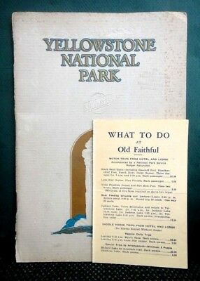 LOT 1928 antique YELLOWSTONE NATIONAL PARK TOUR PRICES and 40pg BOOK hotel tour
