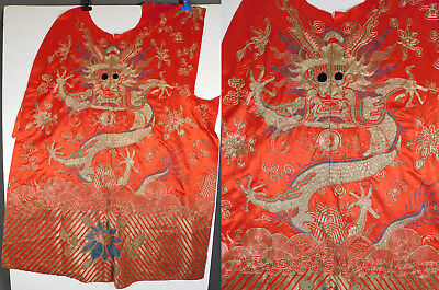 Antique Chinese Dragon Gold Couching Embroidery Red Silk Opera Robe Fabric Vtg