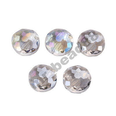 10Pcs Polish Stardust Crystal Flying Saucer Beads DIY Jewelry Makings 18mm