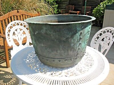 Large original old Victorian riveted copper garden planter pot log bucket etc