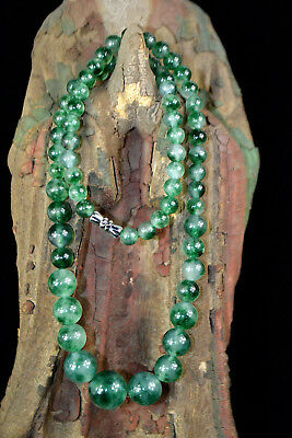 Chinese Collectible Vintage burnish handwork real jade real bead women necklace
