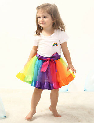 Cute Mother and Daughter Summer Rainbow Tutu Skirt Party Dress Matching Outfits
