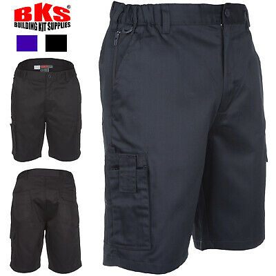 Mens Combat Cargo Work Shorts Size 30 to 42 By BKS in Black or Navy / BKS-110