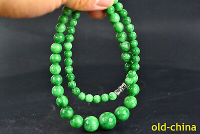 Chinese Collectible Vintage burnish handwork green jade real bead necklace