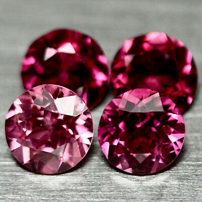 2.98 Ct Natural! 4Pcs Purplish Pink African Rhodolite Garnet Round