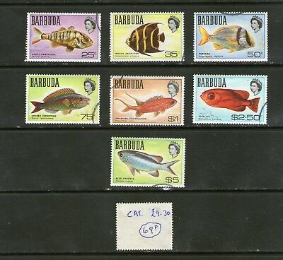 """""""Fish"""" stamps from BARBUDA.   Cat. £9.30.     69p ask."""