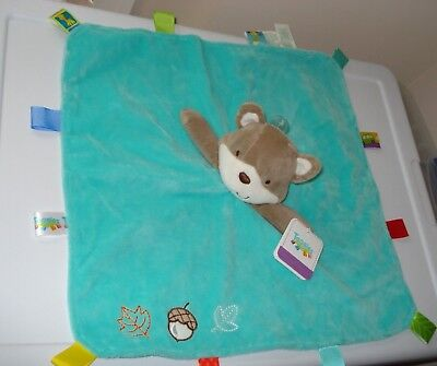 "NWT GENUINE ""Taggies"" Rattle Head SQUIRREL Baby Plush Security Blanket NEW toy"