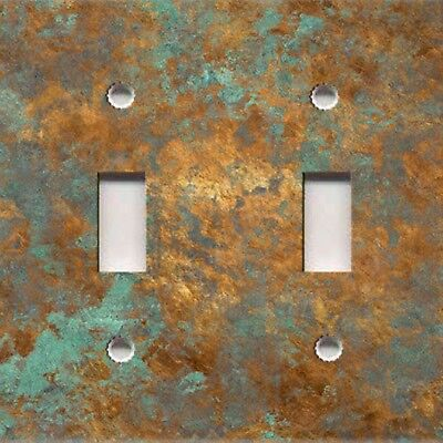 Light Switch Plate Outlet Cover RUSTIC HOME DECOR IMAGE OF AGED COPPER PATINA 01