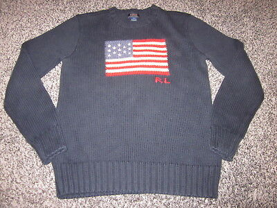 RALPH LAUREN POLO COTTON NAVY BLUE w/US FLAG FRONT SWEATER YOUTH SZ L / ADULT SM