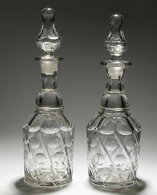 Pair Antique 19th Century English Cut Glass Wine Decanters with Spiral Mitres