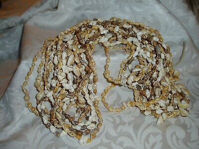 Vintage 10 Pc Lot of 1 Strand SEA SHELL Necklaces, Various sizes and shapes