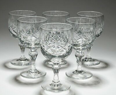 Set of 6 Early Winchester Hand Cut & Baluster Stem Royal Brierley Wine Glasses