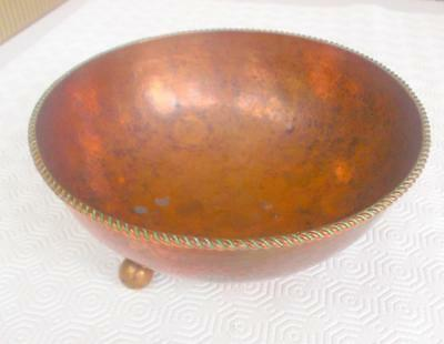 Antique Arts And Crafts Dryad Lester Leicester Hammered Copper Bowl 3 Ball Feet