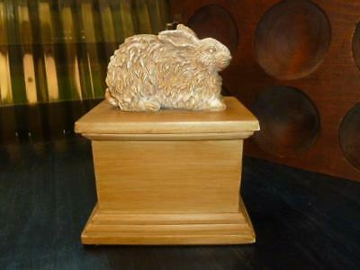 "Carved Wood Look Resin Rabbit On 6.5"" Pedestal Box"