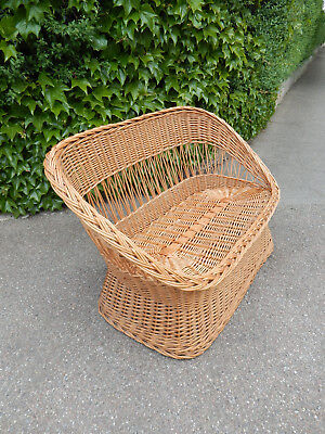 Rattan Sofa 2-Sitzer Couch Sessel Bank 70er Jahre Mid century