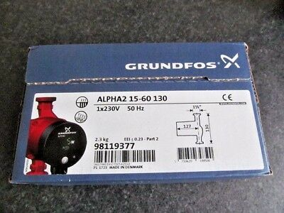 GRUNDFOS PUMP ALPHA2 15-60 130 1X 230v 98119377 BRAND NEW IN BOX GENUINE PART