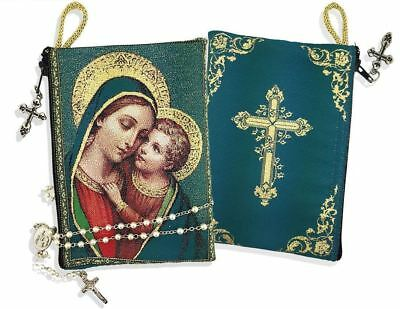 Madonna and Child Icon Tapestry Rosary Pouch Russian Orthodox Keepsake Holder