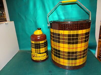 Vintage 60s Metal Tartan Toter Cooler w/Thermos Pelican Cooler & Original Box !