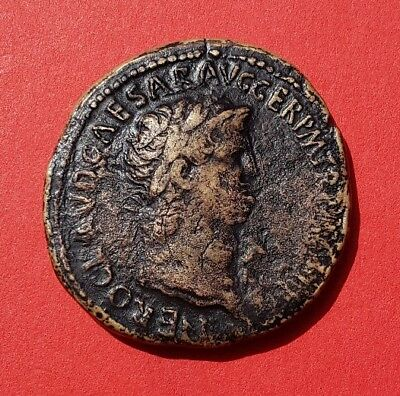 Rare Brass Sestertius Of Nero: Temple Of Janus. Lugdunum, Ad 65. Ric: 438. V.f+